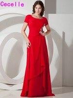 2017 Gerçek Görüntüler Kırmızı Uzun A-line Şifon Mütevazı Nedime Elbiseler Woomen Için Ülke Tapınak Çar Parti Elbise Özel