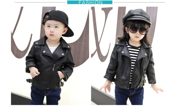 02d0e5d070ca0f Girls PU Leather Jacket Boys Coats Autumn Spring Clothes 2017 Children  Outerwear For Clothing Infant Kids Coat Baby Girl Jackets