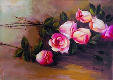 Cheap Chinese Rose Flower Painting Christmas Gift for Girlfriend Wife Canvas Decorative Oil Painting for Living