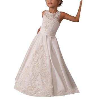 halter white flower girls dresses for wedding pearls party dresses for girls holy first communion dress long kids ball gowns