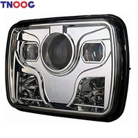 TNOOG 1 Pcs For Jeep Cherokee XJ 5x7 Auto DRL Led Headlamp 5x7 Inch Led Truck