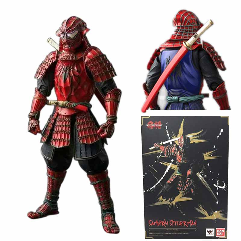 New Movie Star Wars Samurai Spider Man Realization Red Cool Spiderman PVC Action Figures Sword Warrior Toys new style 0382 star red