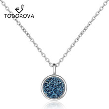 Todorova Round Drusy Druzy Pendant Necklace Geometric Charms Collar Blue Broken Stone Chain Fashion Jewelry Women