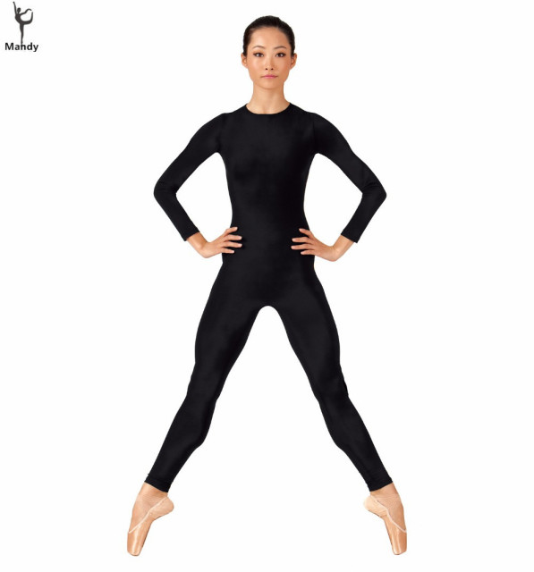 Find a selection of Black Unitard designed for dancers. * Matte nylon/spandex long sleeve bodysuit with mock neck collar * Underside of upper arms is white with black/silver metallic knit trim * Invisible zipper in back * Child sizes are fully lined in front * Adult sizes have a shelf bra and crotch liner Imported. Matte Nylon/Spandex.