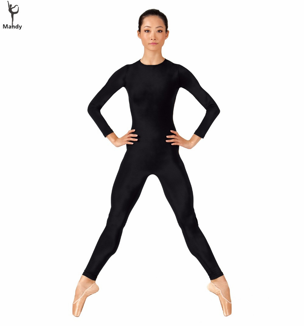 Black spandex dance unitard gymnastics and dancewear - Adult Women Long Sleeve Black Unitards Crew Neck Gymnastics Spandex Dance Unitard Bodysuit Full Body Skin