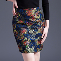 2016 Autumn Winter Vintage Colorful Embroidery Pencil Skirt Midi Women Above Knee High Waist Ladies OL Office Lace Skirts