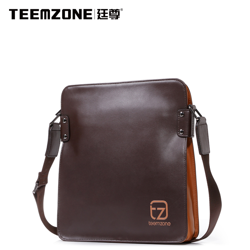 ФОТО Brand Handbag Teemzone Men's Messenger Bag Men Casual Shoulder Bag Genuine Leather Fashion Crossbody Bag Briefcase Free Shipping