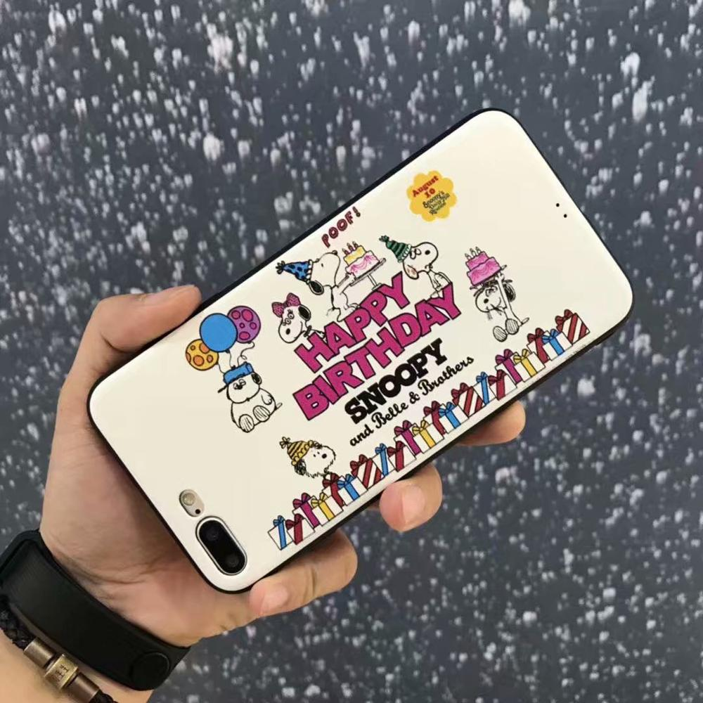 Japan Stylish Dog Friends Silk-grain Phone Case Soft TPU Back Full Cover Casing For iPhoneX 8 6s 7plus Skinny Shell Protection