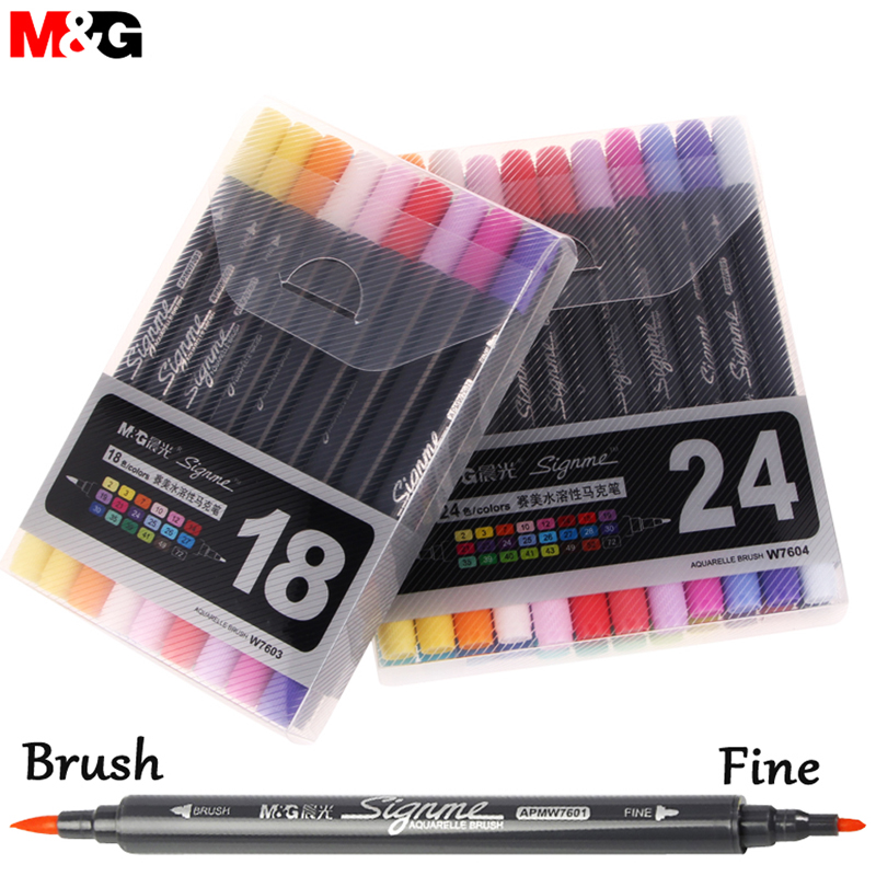 New 12/18/24 Colors Watercolor Brush Pen Water Soluble Colored Pens Markers for Professional Drawing for Dessin Manga Waterbrush sta 12 24 colors brush pen set water based ink twin tip watercolor markers pen drawing for manga school art supplies rotulador