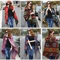 New Fashion Fringe Étnico Geométrica das Mulheres Batwing Cabo Poncho Knit Top Cardigan Sweater Brasão Hip Scarf Shawl Frete Grátis