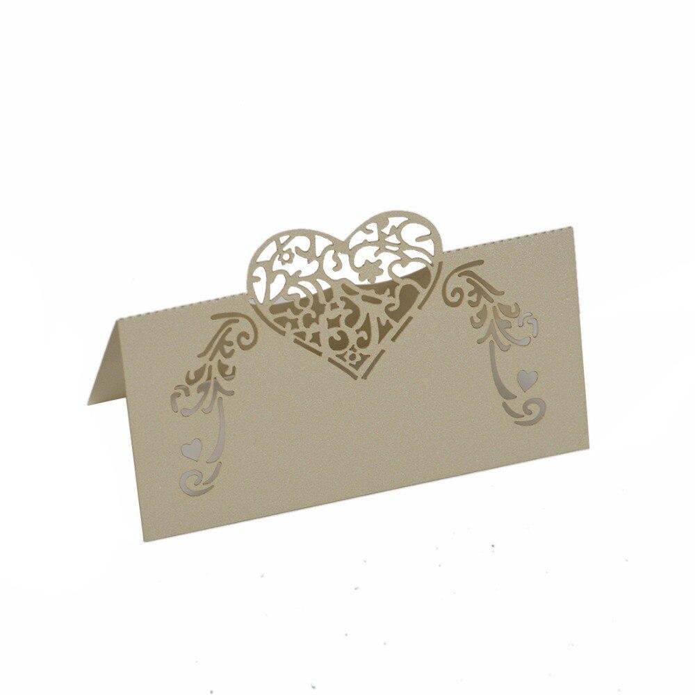 12pc Laser Cut Flower Decoupage Heart Shape Table Name Card Place ...