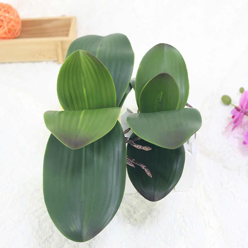 HVAYI1pcs Real Touch Phalaenopsis Blad Kunstmatige Plant Diy Wedding Decoratieve Bloemen Extra Bloem Home Decor Orchidee Bladeren