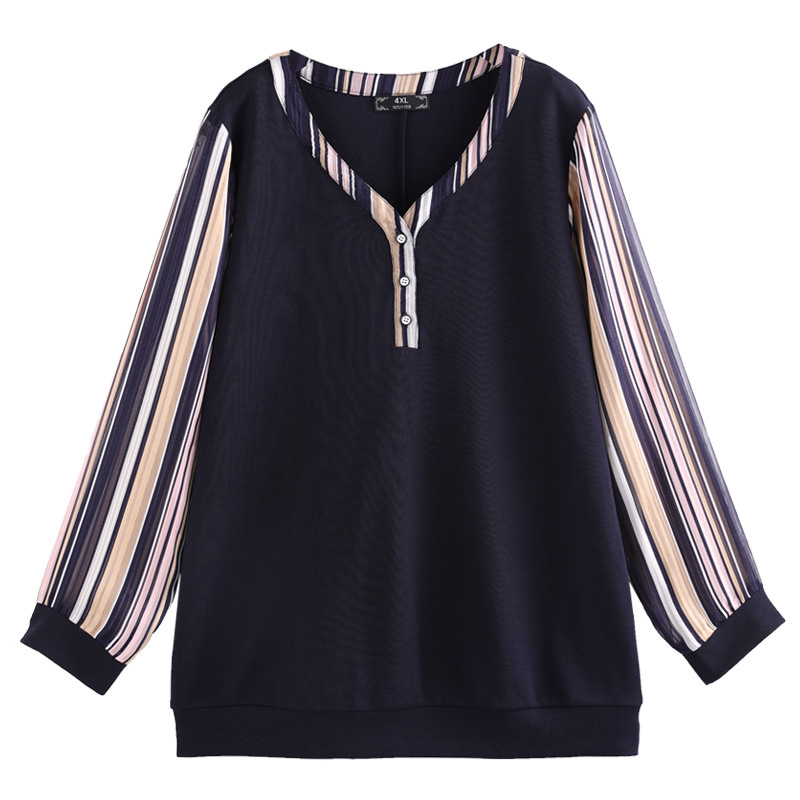 Plus Size 10XL 8XL 6XL 4XL Women Long Sleeve T Shirt Female Fashion Patchwork Casual Top Tee Autumn New Style T Shirt
