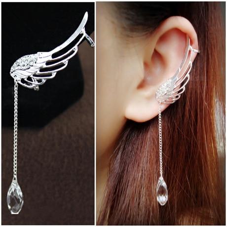 No ear pierced earrings Clip Cuff Wholesale Korea fashion long crystal wings tassel silver plated ear
