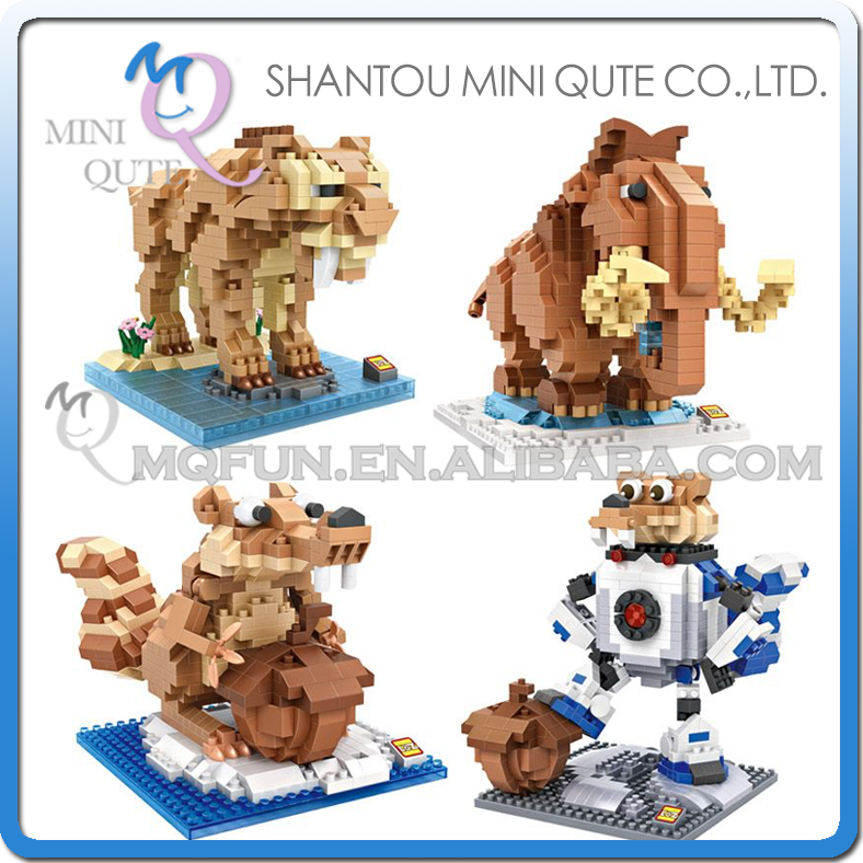 Full Set 4 pc Mini Qute LOZ Kawaii american cartoon ice animal elephant squirrel plastic building blocks model educational toy mini qute full set 2 pcs lot hc zootopia huge nick wilde judy hopps plastic building block cartoon model educational toy no 9011