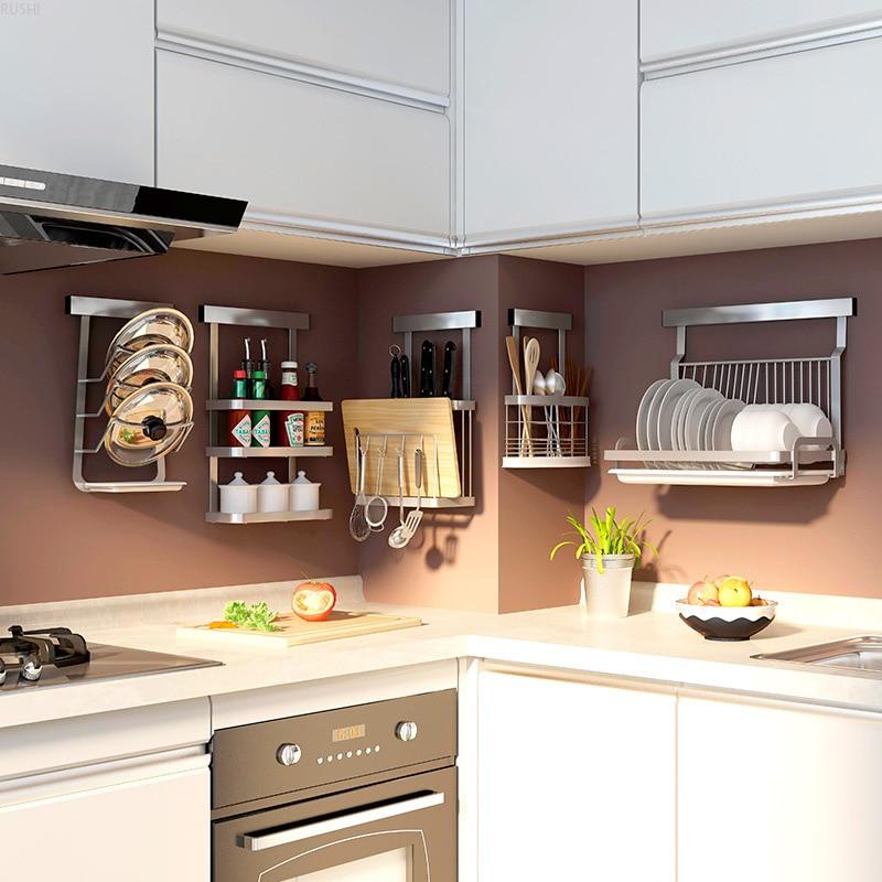 Punch-free Kitchen Shelf Wall Mounted Collection Shelf Storage Rack Stainless Steel Kitchen Rack Bowl Dish Seasoning Rack