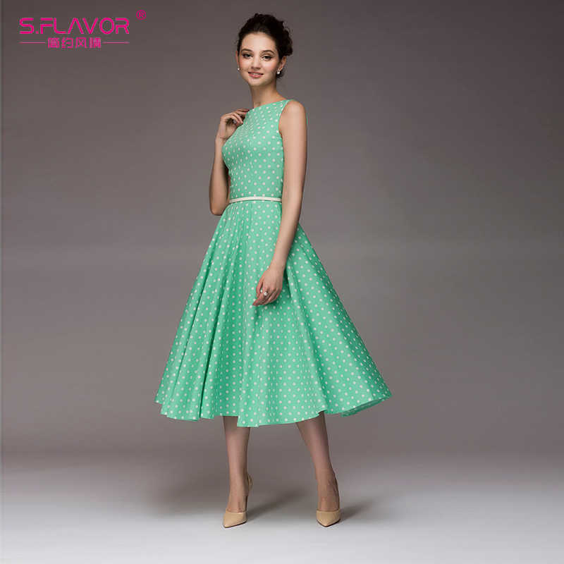 Женское винтажное платье без рукавов S.FLAVOR, элегантное платье в мелкий горошек до середины икры, повседневное платье с О-образным вырезом для лета 2019