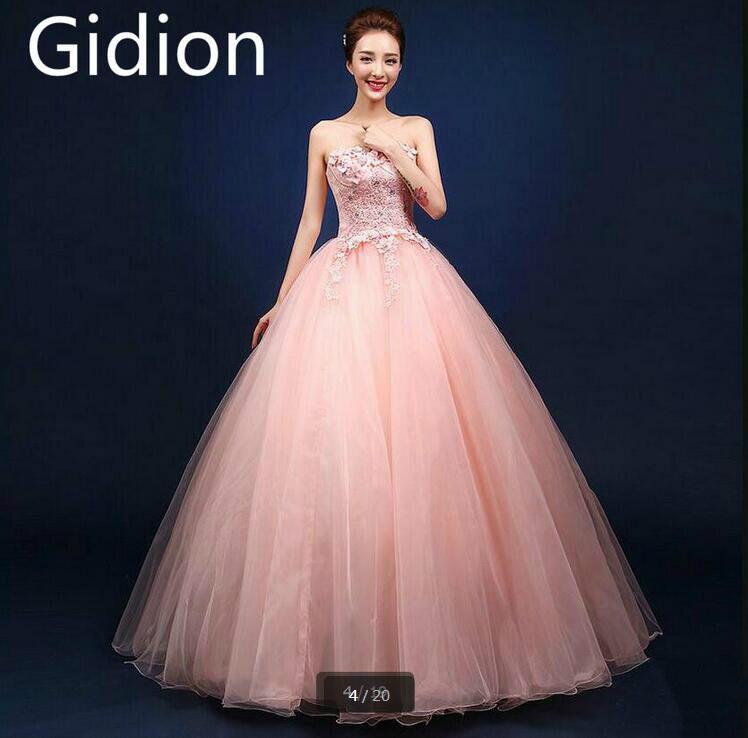 2017 moda de nueva vestido de bola rosa de encaje apliques de flores ...