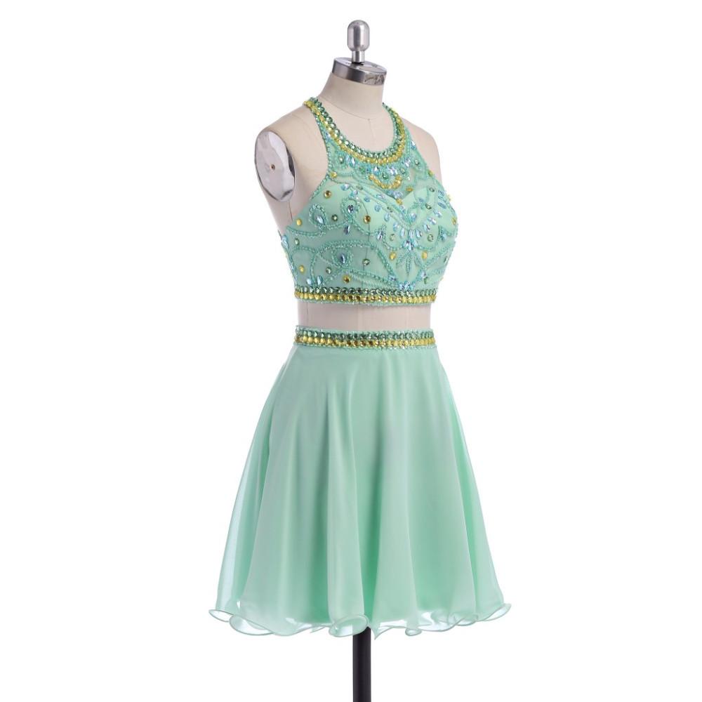 1d5a698f3 Nuevo dos piezas de la turquesa vestidos fiesta 2015 espalda abierta ...