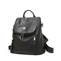 Women's new punctuation vertical square leather backpack Korean fashion the first paragraph leather bulk backpack