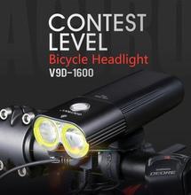 GACIRON luz de bicicleta profesional, 1600 lúmenes, Banco de energía, linterna de luz de bicicleta recargable con USB a prueba de agua