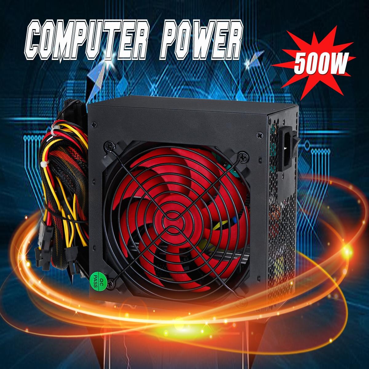 цена на 110-240v 500W PFC Power Supply Active ATX Computer Power Supply 5XSATA 5XIDE 1X6+2P 1X4+4P Fan Computer Power Supply For BTC