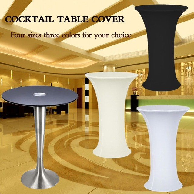 Lycra Cocktail Table Cover Spandex Tablecloth 4 Sizes 3 Colors Stretch Bar  Bistro Wedding Decorations