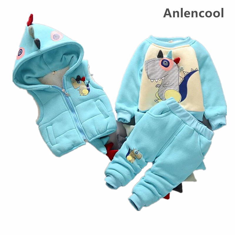 цены Anlencool Baby girl suit winter clothing 2018 new baby girl 0-3 years fashion cartoon dinosaur plus velvet three piece girls set