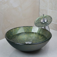 Bathroom Tempered Glass Sinks Hand Painting Victory Match Brass Faucet Bathroom Sinks Set 4162 1