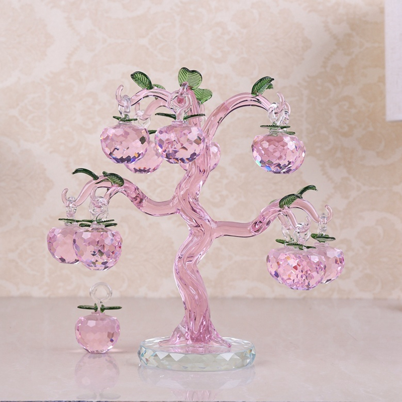 Pink Chirstmas Tree Hanging Ornaments 30mm Crystal Glass Apple miniature Figurine Natale Home Decorations Figurines Crafts