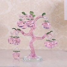 Pink Chirstmas Tree Hanging Ornaments 30mm Crystal Glass Apple miniature Figurine Natale Home Decorations Figurines Crafts gifts