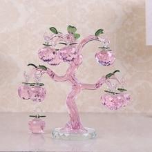 Roze Chirstmas Boom Opknoping Ornamenten 30mm Crystal Glass Apple miniatuur Beeldje Natale Thuis Decoraties Beeldjes Ambachten geschenken