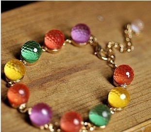 Colorful vintage  candy color beads crystal beads gold bracelet 4.5