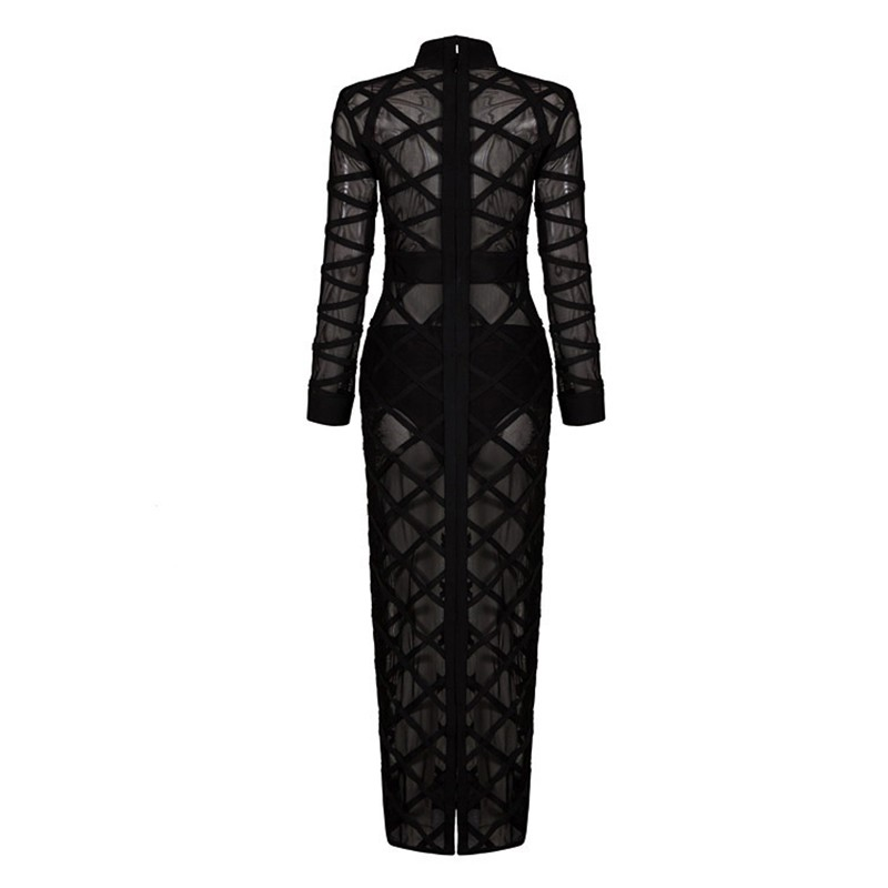 Longues Travers À 2018 Sexy Plaid Nouveau Voir Manches Maille Noir Robes Moulante Celebrity Party Bandage Hl544 Sheer Robe Club zzOR8S