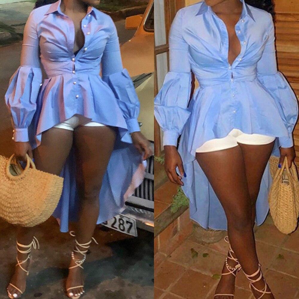 Women   Blouse     Shirt   Peplum Button Up High Low Tops Blue Summer Fashion Long Lantern Sleeve Casual Wear Female Clothing 2019 Bluas