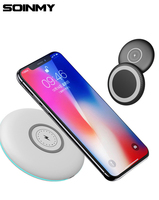 10W QI Wireless Fast Charge Pad For Samsung Galaxy S7 S6 EDGE S8 S9 S10 Plus for Iphone 8 X XS MAX XR with micro usb cable