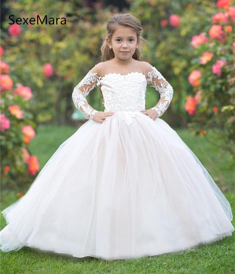 купить Ivory White Flower Girls Dresses for Wedding O Neck Long Sleeve Lace Puffy Tulle Kids Wedding Party Gown First Communion Dress онлайн