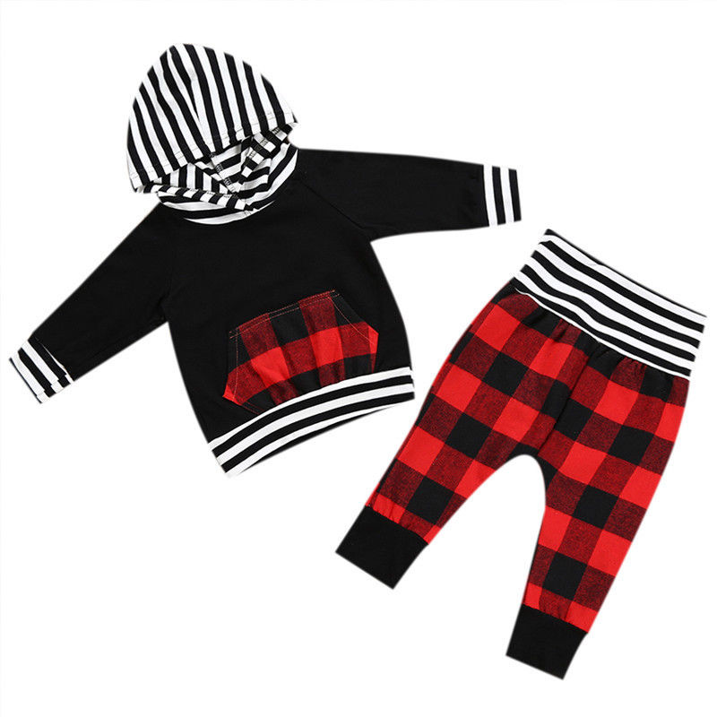 2017 Autumn Newborn Baby Boy Girl Clothing Long Sleeve Hooded T-shirt Tops+Red Plaid Pant Trouser 2PCS Infant Kids Clothes Set new 2017 aint a woman alive that could take my mama s place black baby girl boy kids minions clothes t shirt tops blusas mujer