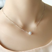 S925 Pure Silver Necklace Female Short Design Crystal Ball Chain Elegant Brief Anti Allergic