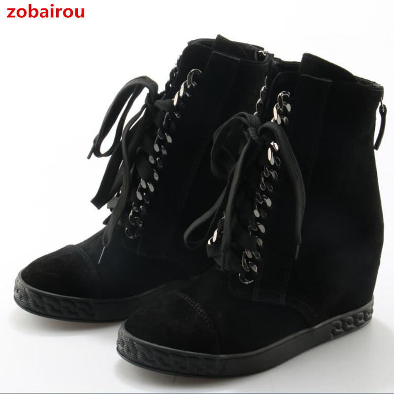 Zobairou Winter High-top Casual Shoes Woman Casade Suede Height Increasing Ankle Boots Lace Up Wedges Snow Boots With Fur Inside european grand prix 2016 new winter shoes high top ankle boots inside frosted increased korea shoes wholesale