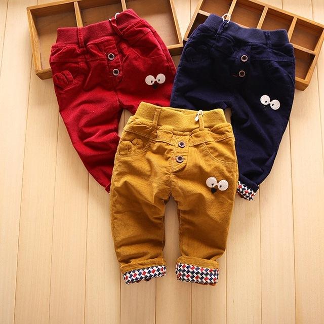 Casual Otoño Invierno Bebés y Niños Niños Niños Bebés Varones Pantalones Encuadre de Cuerpo Entero Pantalones de Terciopelo de la Historieta