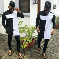 African Fashion Dashiki Man Shirt Sets O neck Top And Trouser Men's Outfit African gatherings Wear Patchwork Black/white Mix