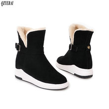QZYERAI New arrival winter warm snow boots women flat fur shoes size 34-43