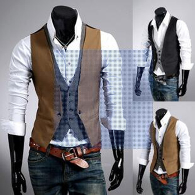 2015 The New Leave Two Men's Leisure Fashion Vest   M~XXL Size