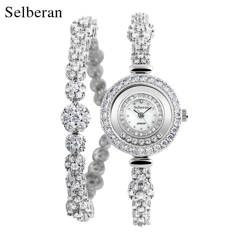 2018 Selberan Brand Luxury Zircon Waterproof Lady Wrist Watches for Women Silver Copper Bracelet Watch Womens