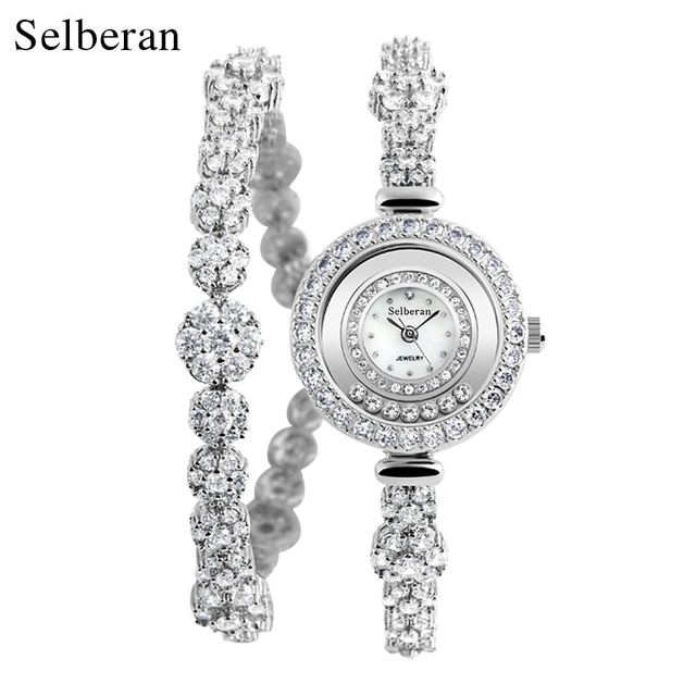 2018 Selberan Brand Luxury Zircon Waterproof Lady Wrist Watches for Women Silver