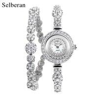 Selberan 2017 Fashion Casual Silver Women S Zircon Bracelet Watch Bride Jewelry Watch Ladies 2 Line