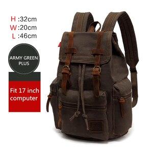 Image 3 - AUGUR nowa męska 17 cal laptopa komputerowy plecak plecaki szkolne mężczyźni w stylu vintage płótno duża pojemność podróży plecak tornister torba