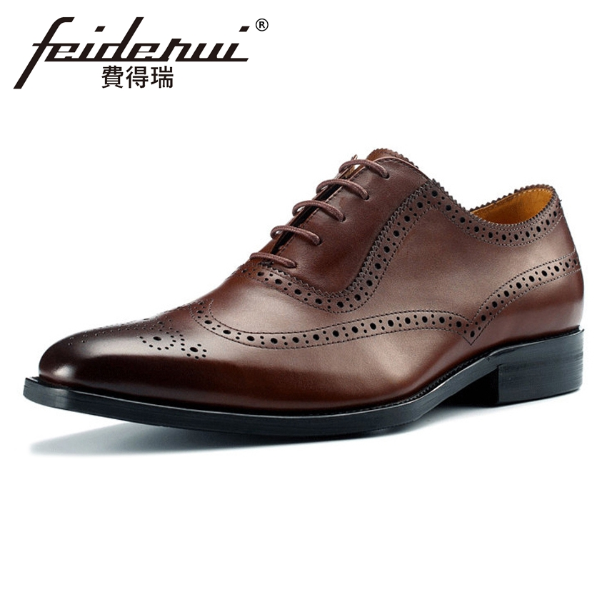 Plus Size 2018 Formal Dress Genuine Leather Men's Carved Oxfords Wingtip Handmade Pointed Toe Wedding Party Brogue Shoes MLT34 skp151custom made goodyear 100% genuine leather handmade brogue shoes men s handcraft dress formal shoes large plus size
