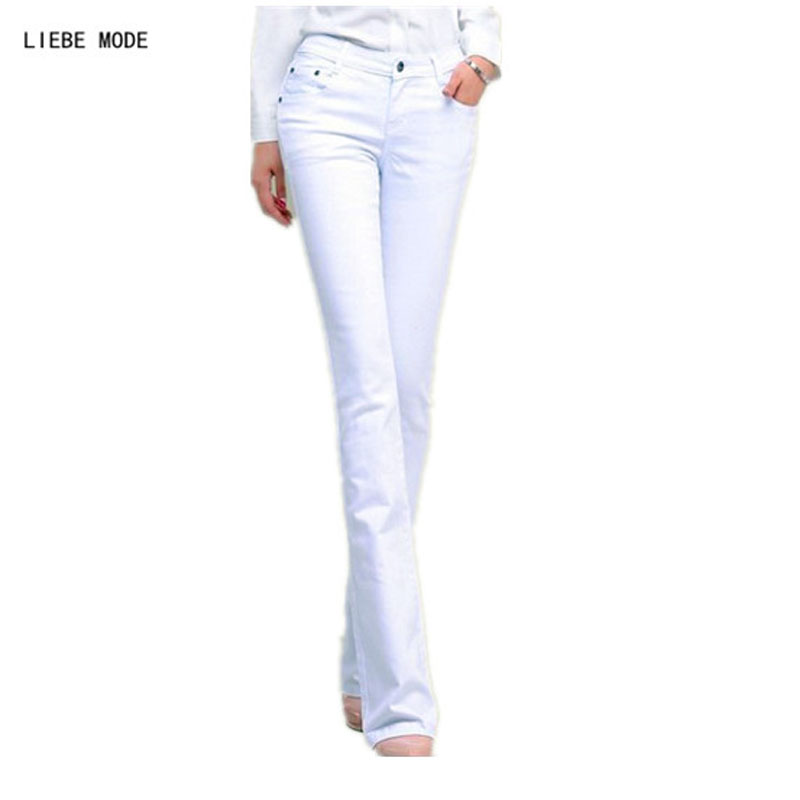 Black White Jeans Skinny Women Spring Autumn Flare Jeans Woman Sexy Push Up Jean Slim Femme